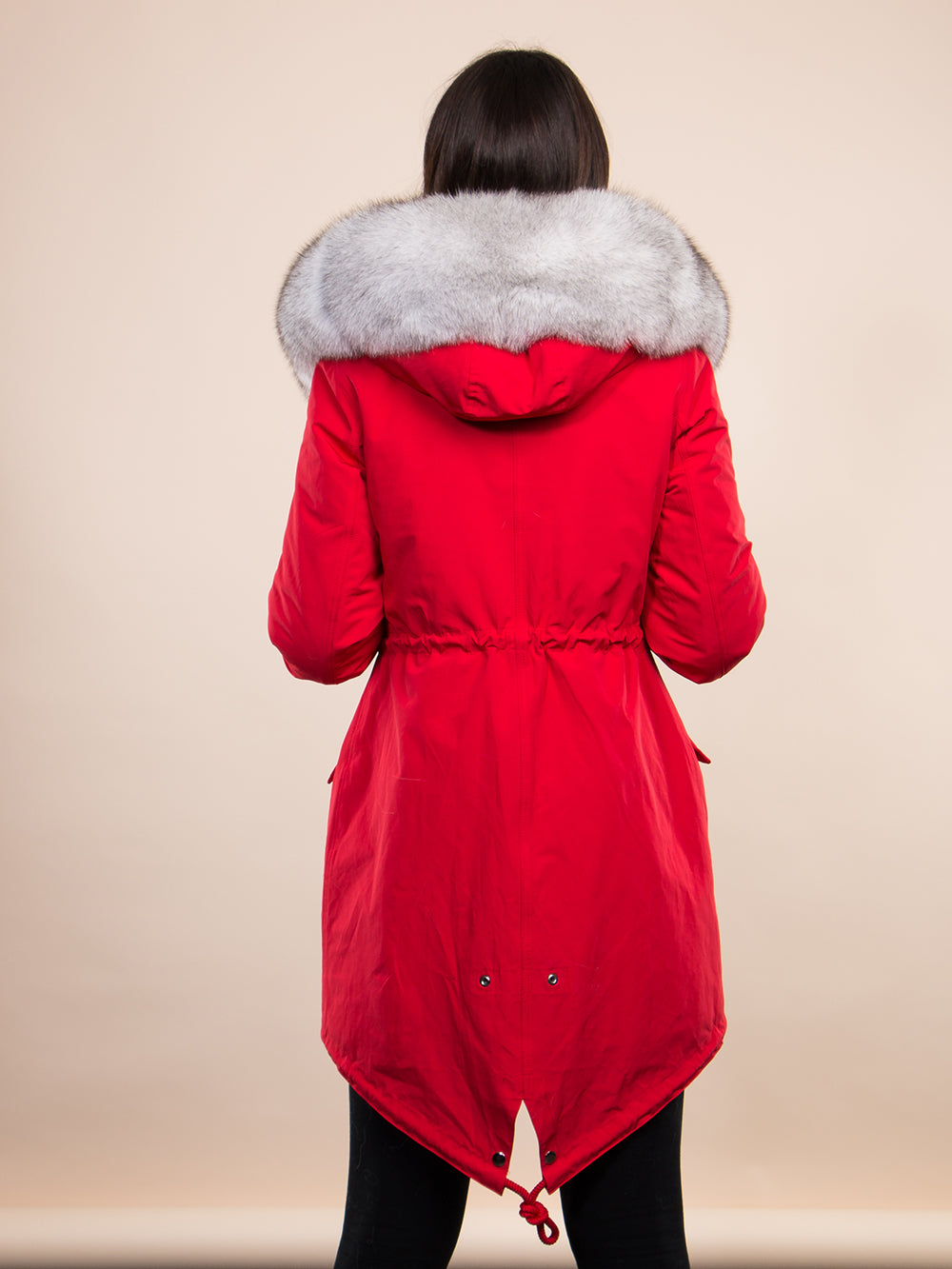 Red Midi Parka Main Fabric is Waterproof / Raincoat Fabric With Blue Fox