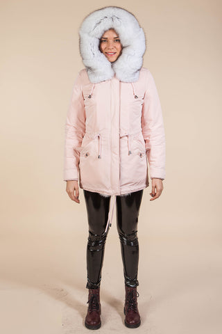 Pink Mini Parka Main Fabric is Waterproof / Raincoat Fabric With Blue Fox