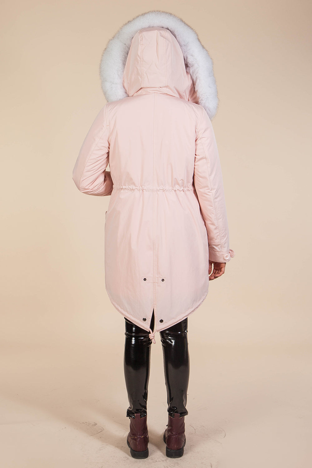 Pink Midi Parka Main Fabric is Waterproof / Raincoat Fabric With Blue Fox