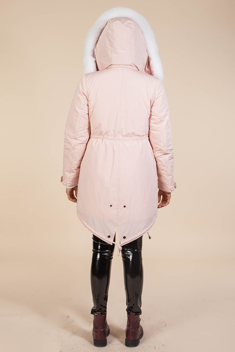 Pink Midi Parka Main Fabric is Waterproof / Raincoat Fabric With Blue Shadow Fox