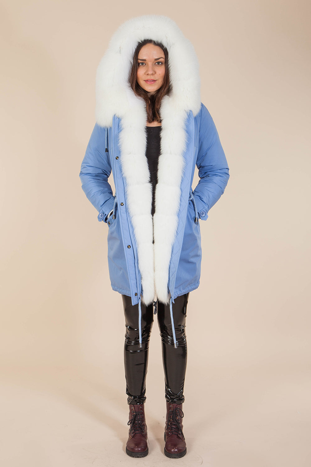Blue Midi Parka Main Fabric is Waterproof / Raincoat Fabric With Blue Shadow Fox