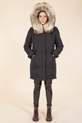 Black Parka Main Fabric is Waterproof / Raincoat Fabric With Finnraccoon