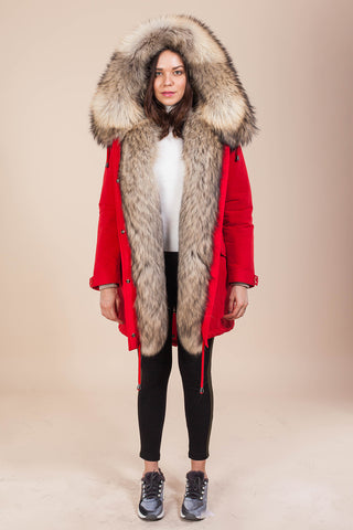 Red Parka Main Fabric is Waterproof / Raincoat Fabric With Finnraccoon