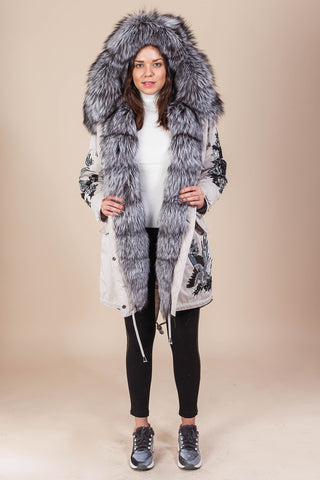 Stone Parka Main Fabric is Waterproof / Raincoat Fabric With Silver Fox