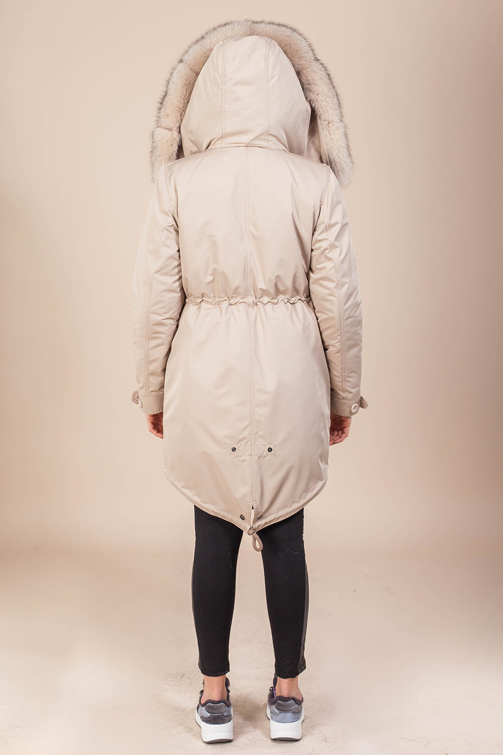 Beige Parka Main Fabric is Waterproof / Raincoat Fabric With Beige / Blue Fox