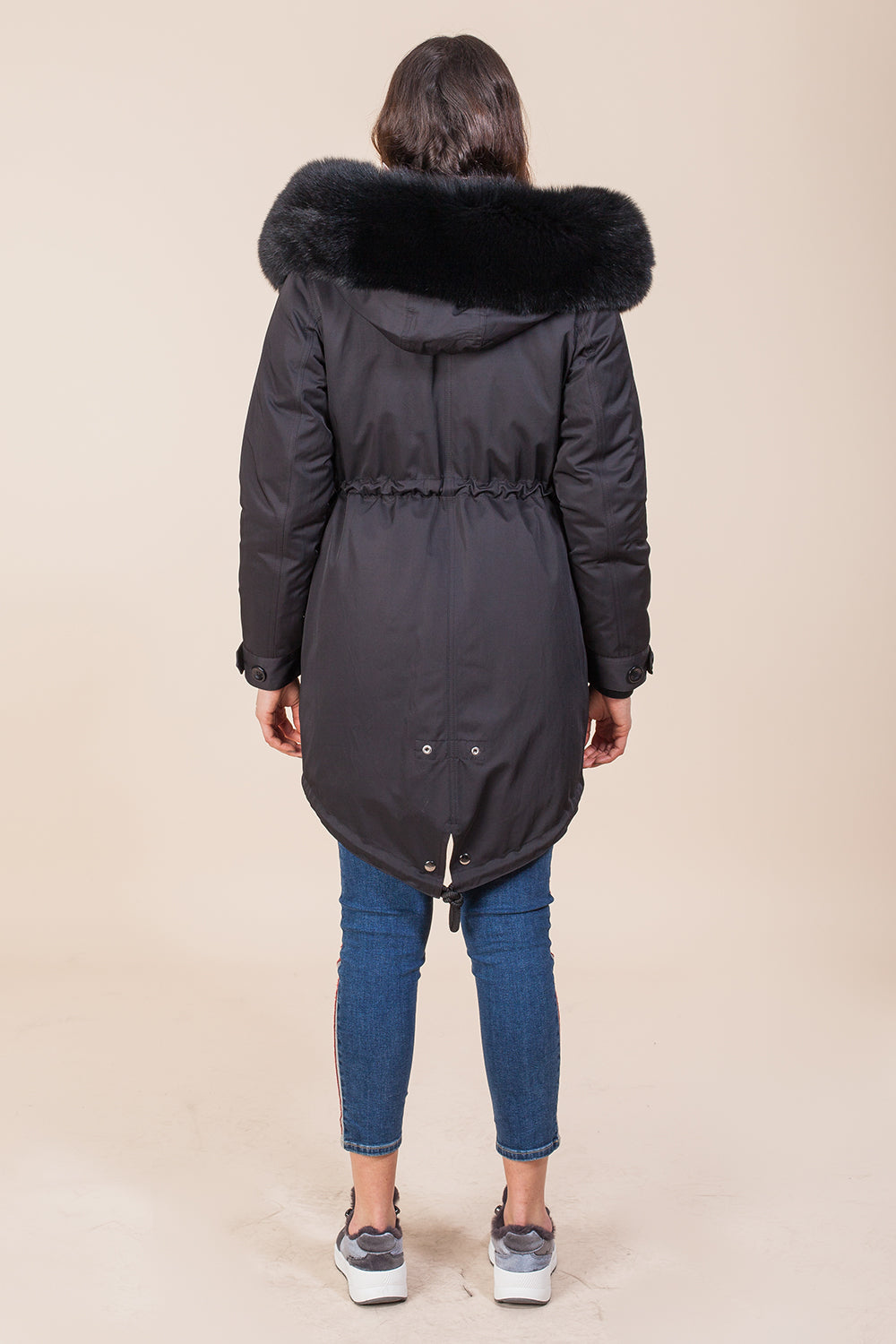 Black Midi Parka Main Fabric is Waterproof / Raincoat Fabric With Black / Blue Fox