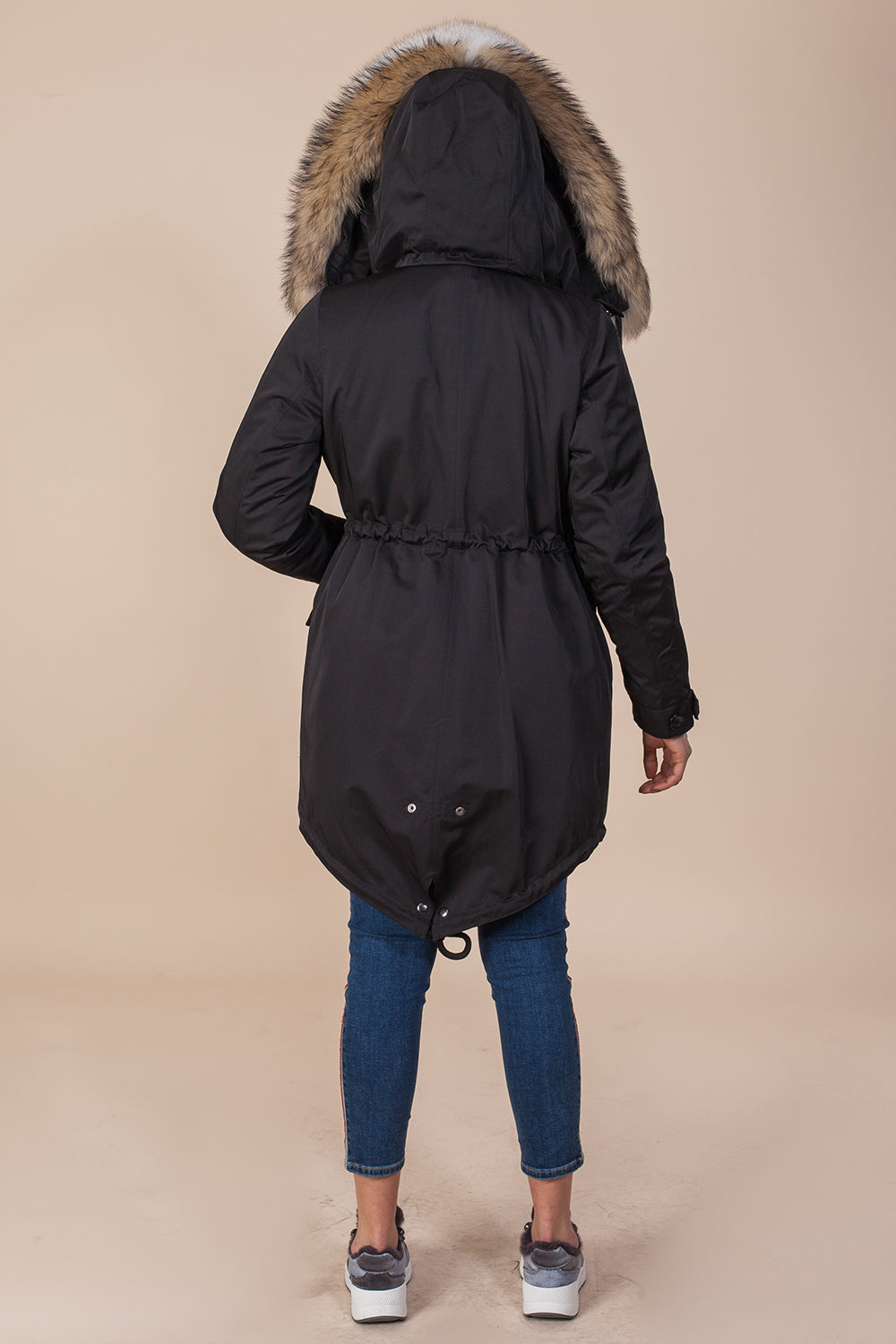 Black Midi Parka Main Fabric is Waterproof / Raincoat Fabric With Finnraccoon Mixed Blue Fox