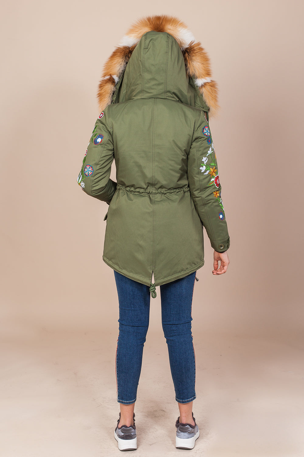 Green Mini Parka Main Fabric is Waterproof / Raincoat Fabric With Mixed Gold Fox