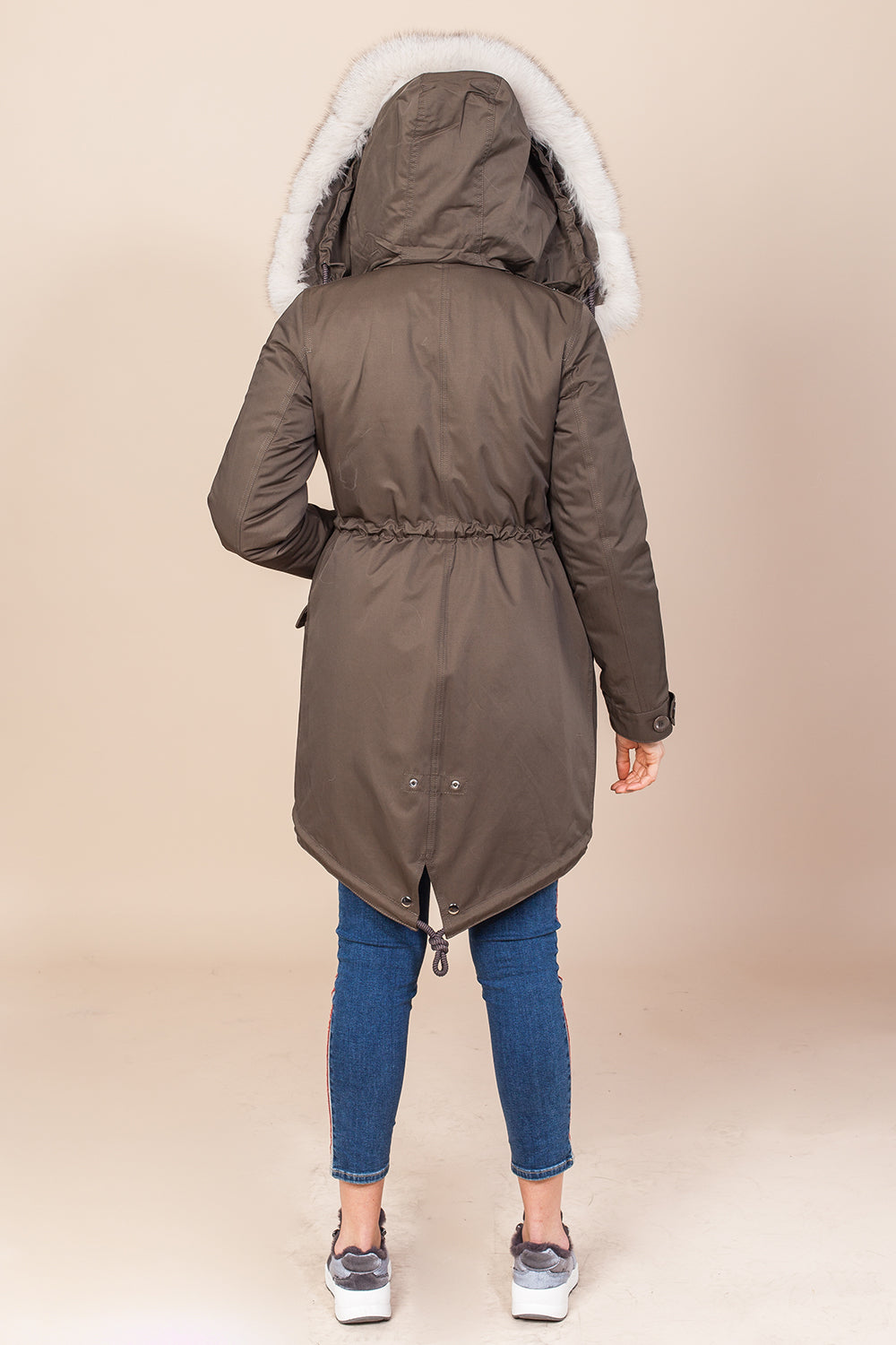 Khaki Midi Parka Main Fabric is Waterproof / Raincoat Fabric With Beige / Blue Fox