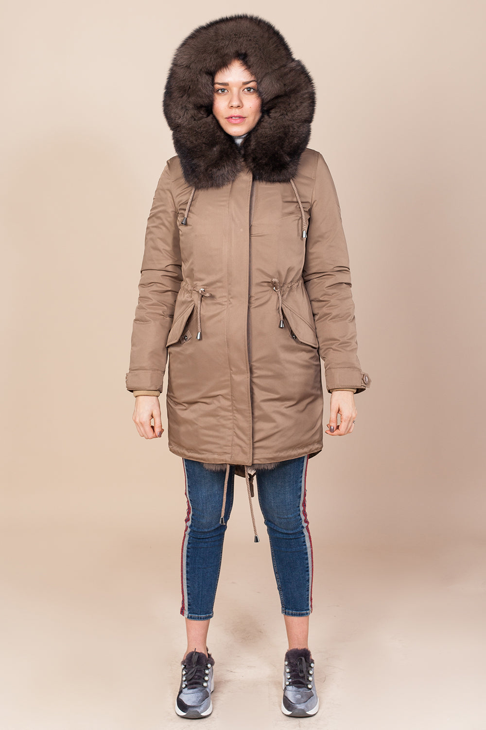 Cappuccino Parka Main Fabric is Waterproof / Raincoat Fabric With Dark Brown / Blue Fox