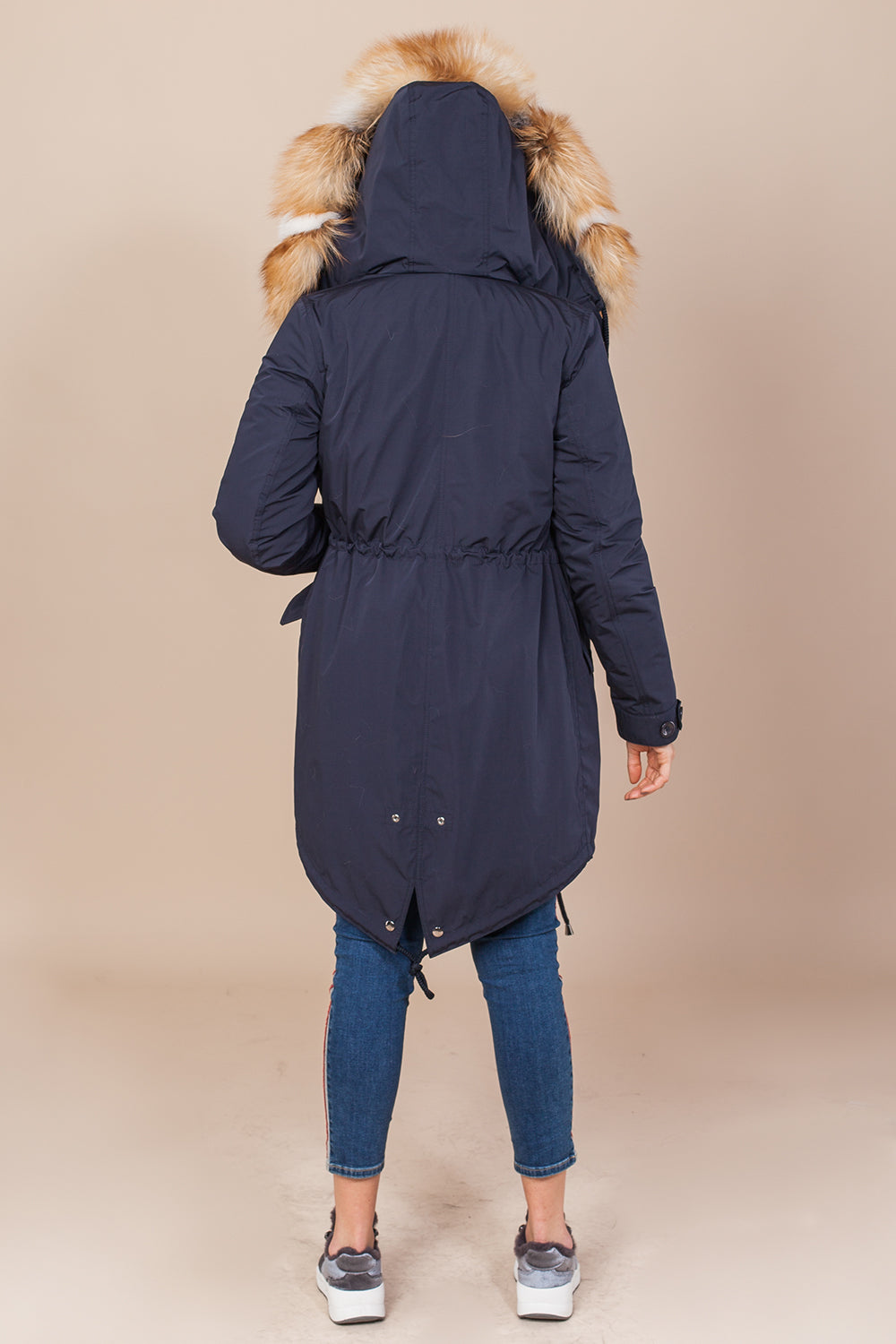 Dark Navy Parka Main Fabric is Waterproof / Raincoat Fabric With Mixed Gold Fox