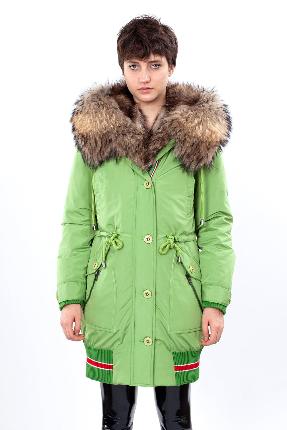 Light Green Midi Parka Main Fabric is Waterproof / Raincoat Fabric With Finnraccoon