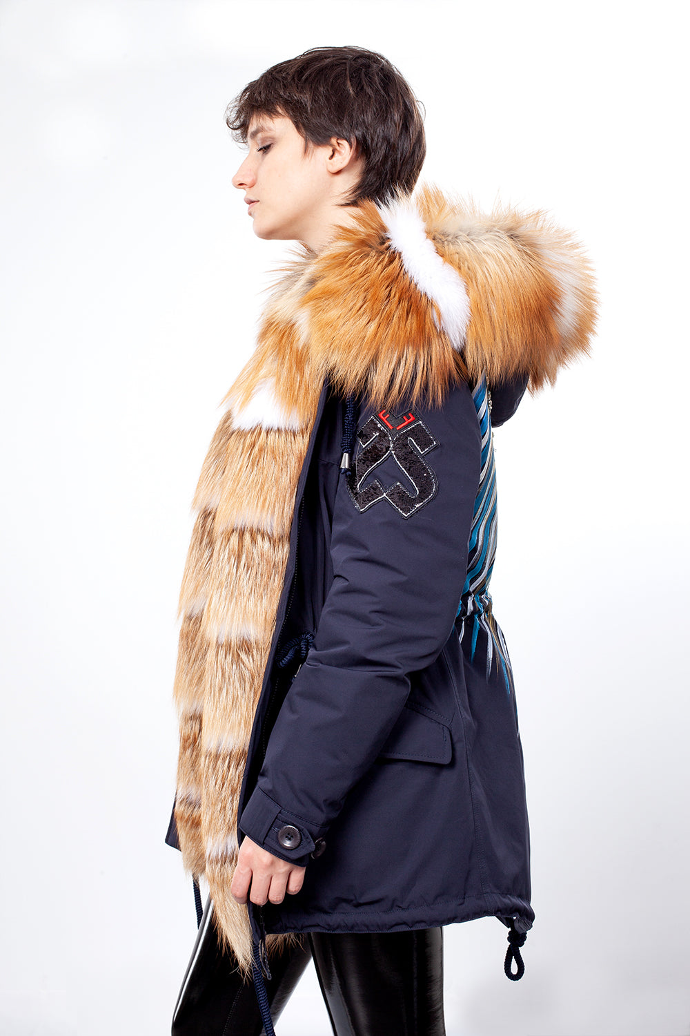Dark Navy Midi Parka Main Fabric is Waterproof / Raincoat Fabric With Gold Fox Mixed Blue Fox