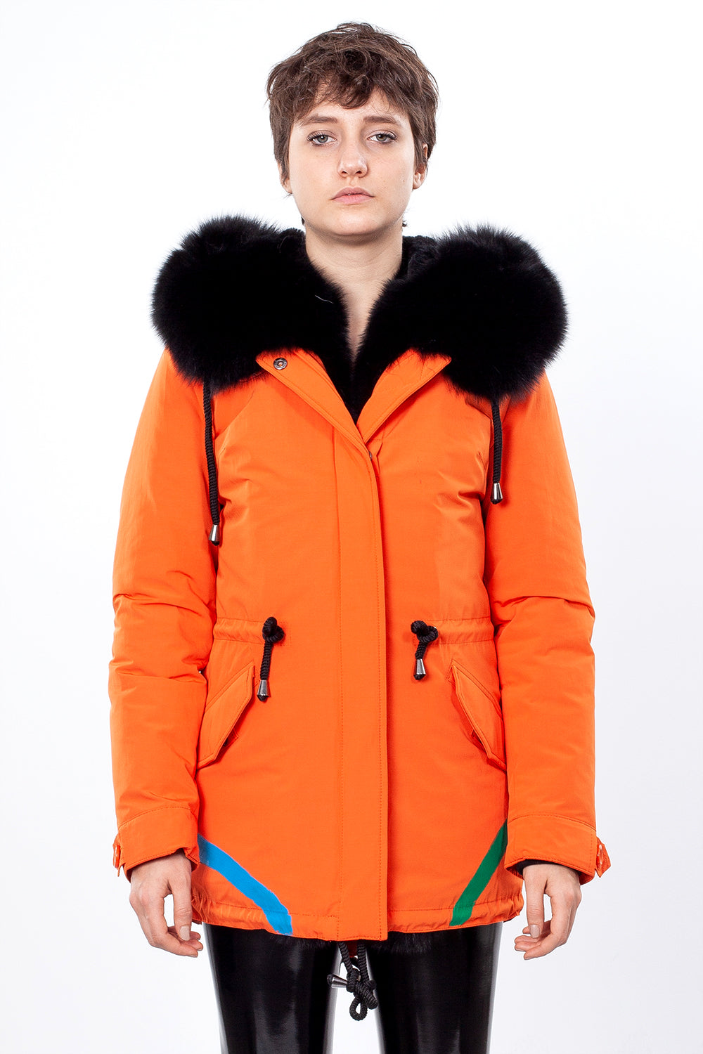 Orange Midi Parka Main Fabric is Waterproof / Raincoat Fabric With Black Blue Fox