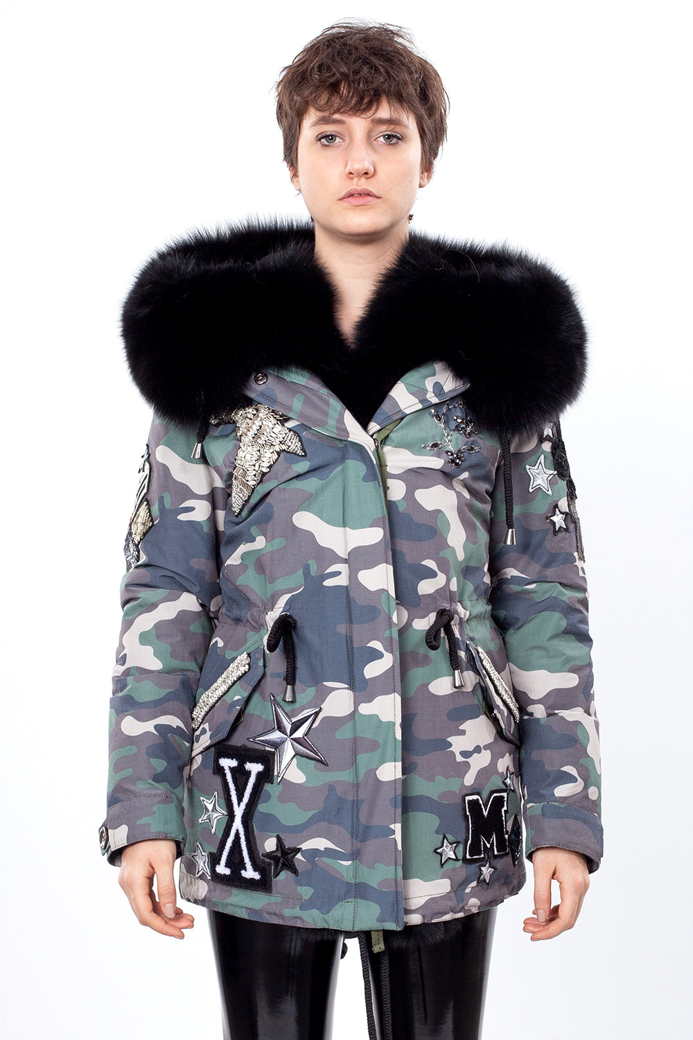 Green Camouflage Color Midi Parka Main Fabric is Waterproof / Raincoat Fabric With Black Blue Fox