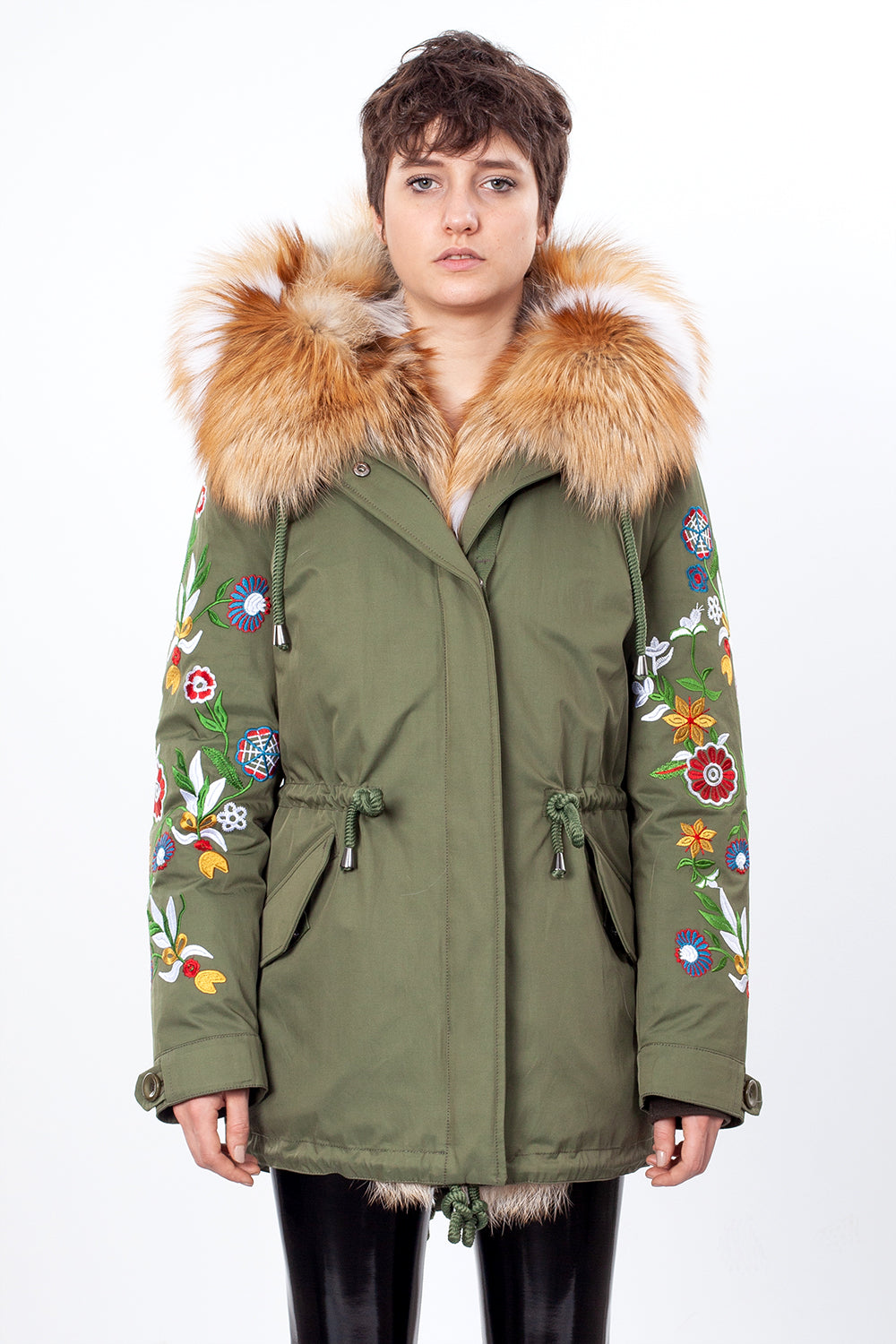 Green Midi Parka Main Fabric is Waterproof / Raincoat Fabric With Gold Fox Mixed Blue Fox