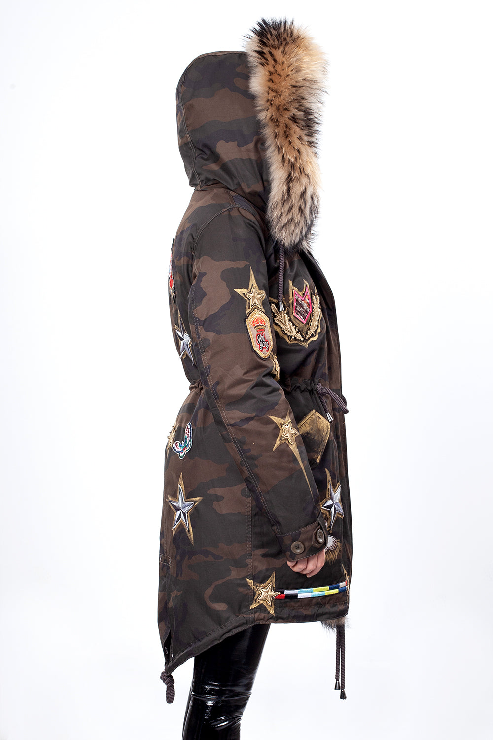 Khaki Camouflage Color Midi Parka Main Fabric is Waterproof / Raincoat Fabric With Finnraccoon
