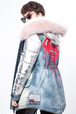 Silver Coat Midi Parka Main Fabric is Waterproof / Raincoat Fabric With Finnraccoon Mixed Blue Fox