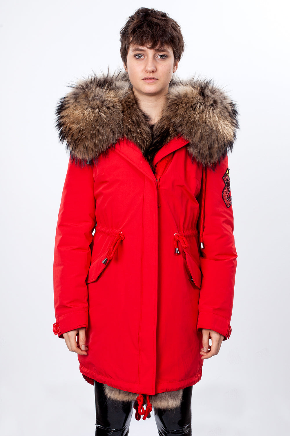 Red Midi Parka Main Fabric is Waterproof / Raincoat Fabric With Finnraccoon