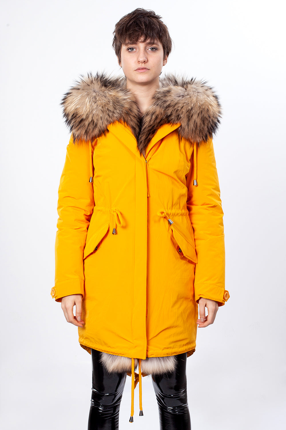 Yellow Midi Parka Main Fabric is Waterproof / Raincoat Fabric With Finnraccoon