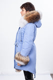Blue Midi Parka Main Fabric is Waterproof / Raincoat Fabric With Finnraccoon Mixed Blue Fox