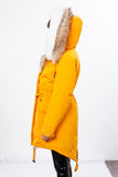 Yellow Midi Parka Main Fabric is Waterproof / Raincoat Fabric With Finnraccoon Mixed Blue Fox