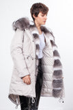 Stone Midi Parka Main Fabric is Waterproof / Raincoat Fabric Blue Shadow Frost Mixed Blue Fox