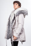 Stone Midi Parka Main Fabric is Waterproof / Raincoat Fabric With Silver Fox Mixed Blue Fox