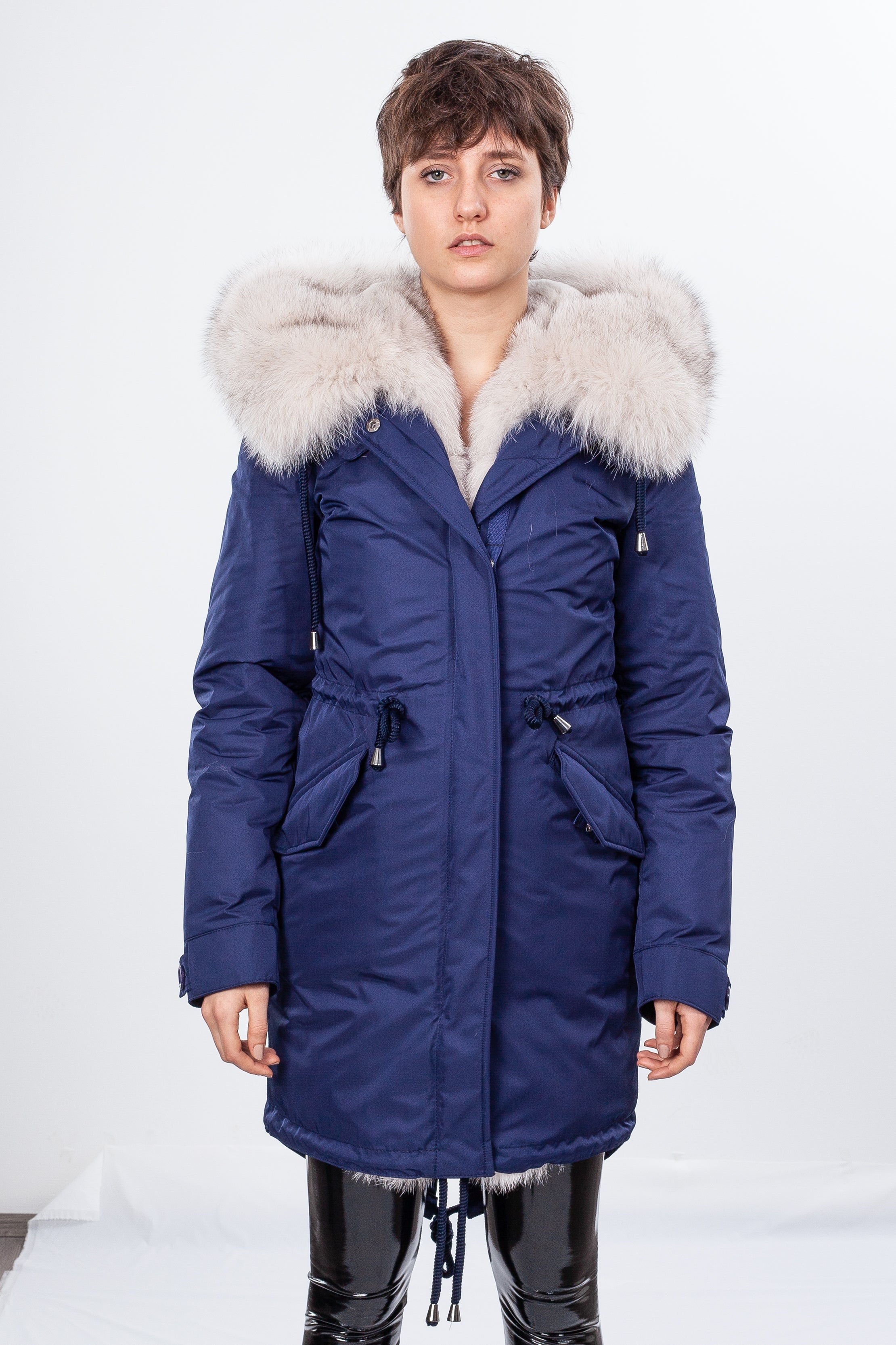 Navy Midi Parka Main Fabric is Waterproof / Raincoat Fabric With Beige Blue Fox