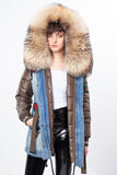 Jean Midi Parka Main Fabric is Waterproof / Raincoat Fabric With Finnraccoon Mixed Blue Fox Fur