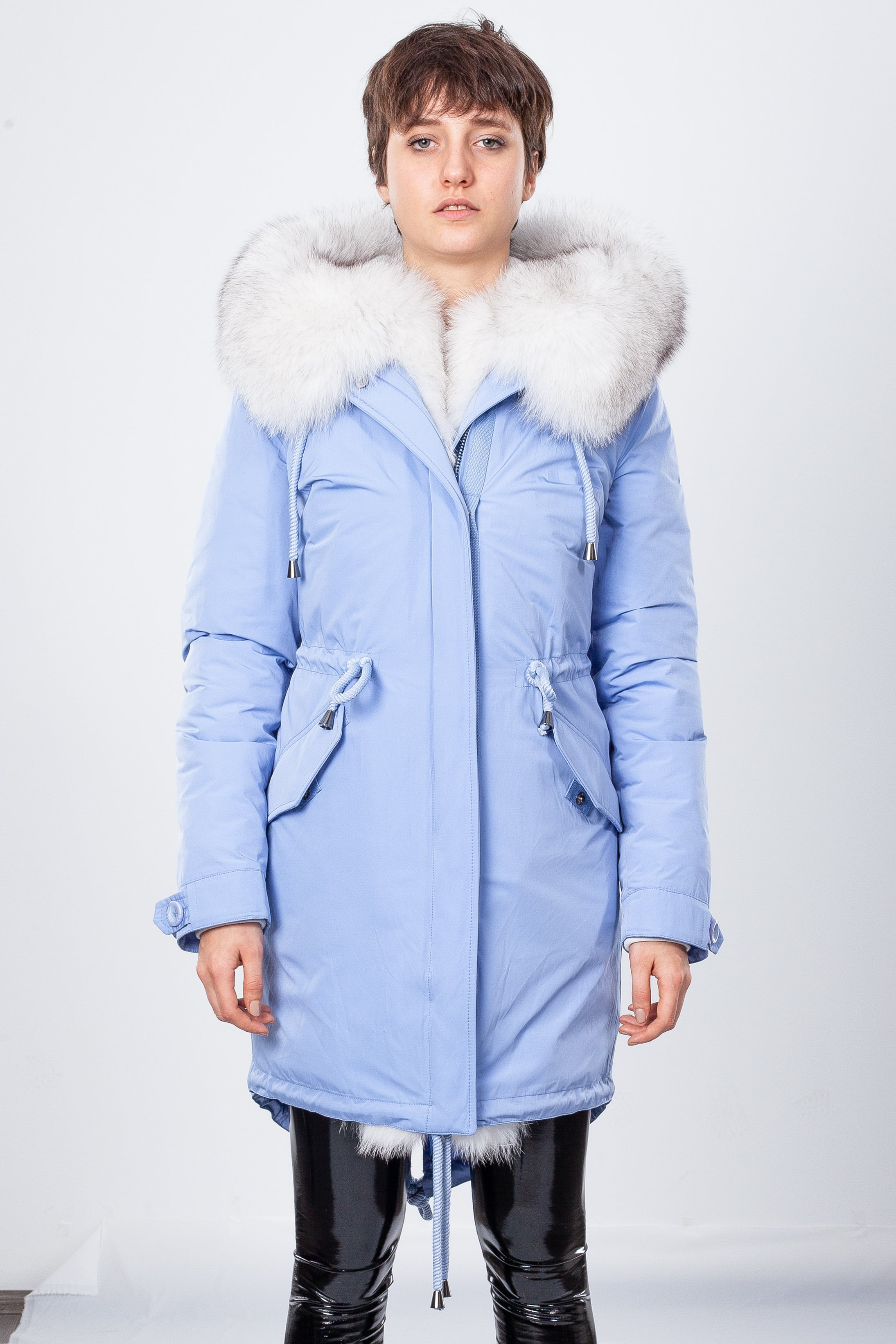 Blue Midi Parka Main Fabric is Waterproof / Raincoat Fabric With Blue Fox
