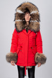 Red Midi Parka Main Fabric is Waterproof / Raincoat Fabric With Finnraccoon Mixed Blue Fox