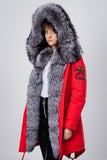 Red Midi Parka Main Fabric is Waterproof / Raincoat Fabric With Silver Fox