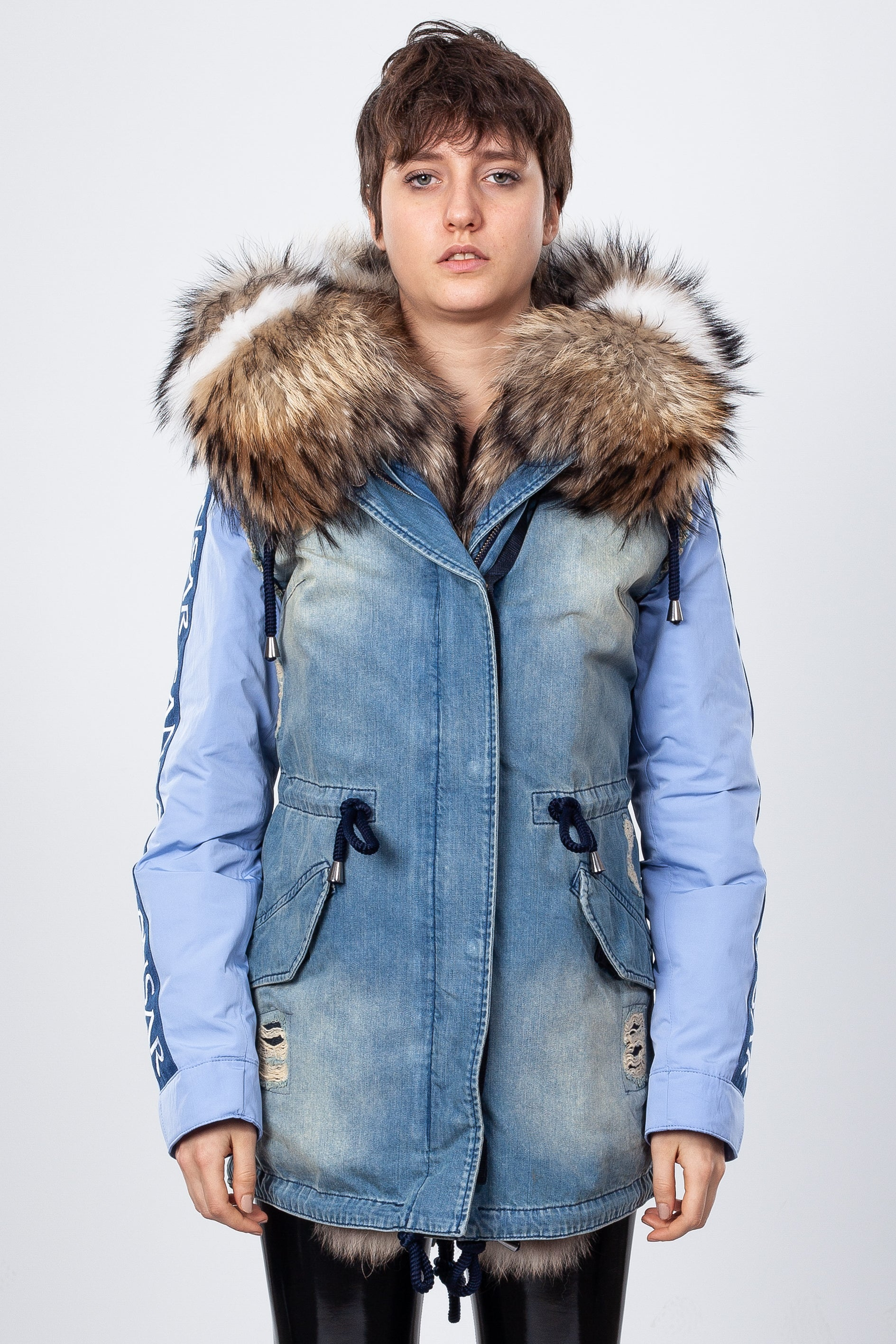 Blue Denim Midi Parka Main Fabric is Waterproof / Raincoat Fabric With Finnraccoon Mixed Blue Shadow Fox
