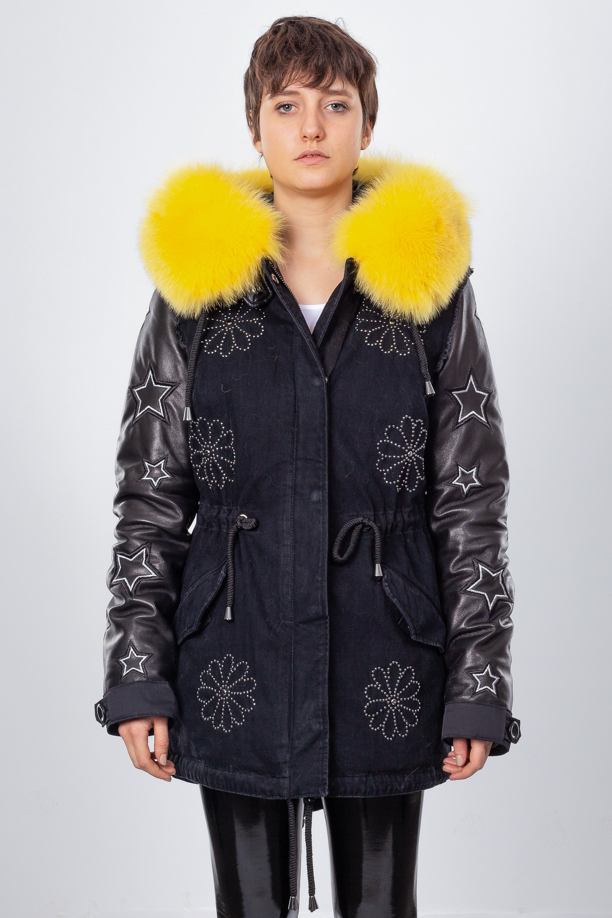 Black Denim Midi Parka Main Fabric is Waterproof / Raincoat Fabric With Yellow Blue Fox