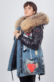 Blue Denim Midi Parka Main Fabric is Waterproof / Raincoat Fabric With Finnraccoon