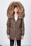 Khaki Midi Parka Main Fabric is Waterproof / Raincoat Fabric With Finnraccoon