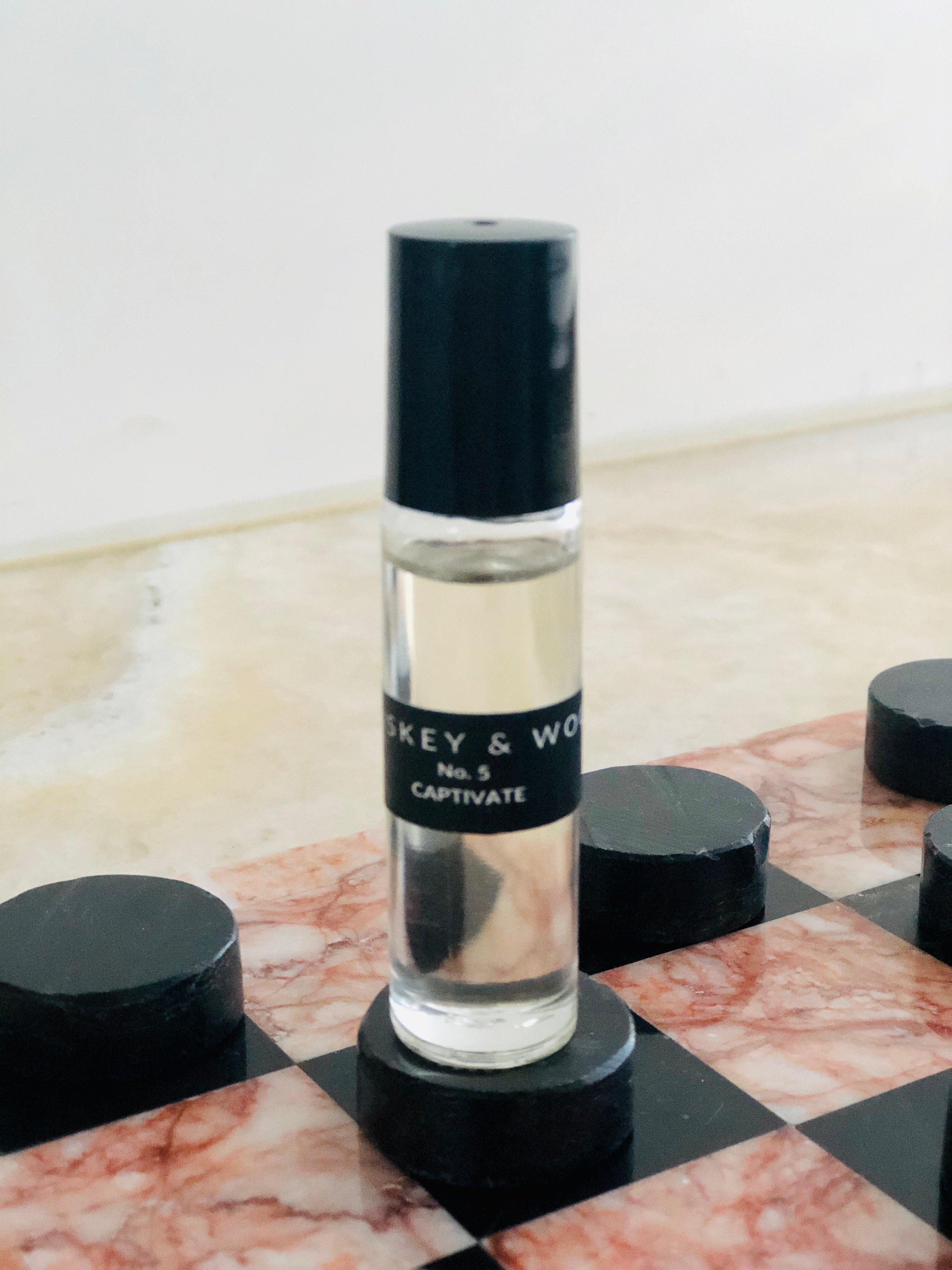 No. 5 CAPTIVATE: Leather & Vetiver Roll-on Essential Oil Fragrance