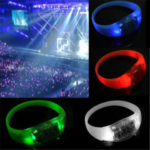 Promotional Custom Logo LED Sound Activated Light Up Wristbands