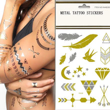 Load image into Gallery viewer, Custom Logo Metal Tattoo Sticker Custom Gold Flash Tattoo Sticker