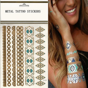 Custom Logo Metal Tattoo Sticker Custom Gold Flash Tattoo Sticker