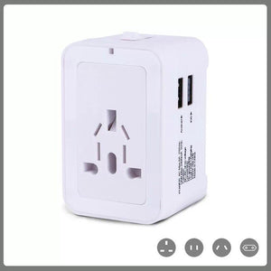 Custom Logo Promotional Travel Adapter 2 USB + Wall Charger for EU/UK/AU/US & Asia