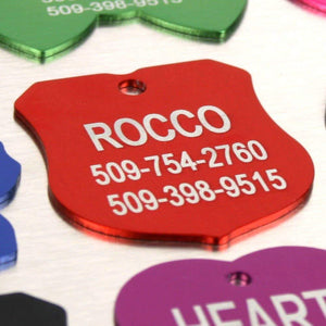 Providence Engraving Pet ID Tags | 8 Shapes & Colors to Choose From | Dog Cat Aluminum