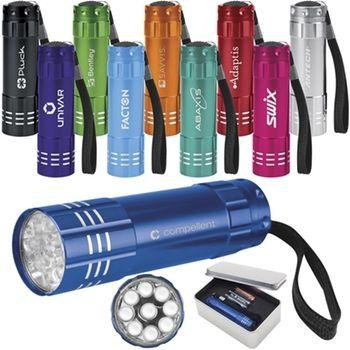Promotional Custom Logo Push-Button Aluminum LED Flashlight