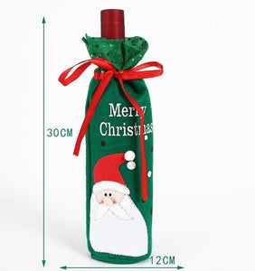 Custom Logo Christmas Wine Bottle Cover Bags Snowman Santa Claus