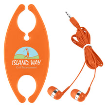 Load image into Gallery viewer, Promotional Custom Logo Earbuds With Cord Organizer