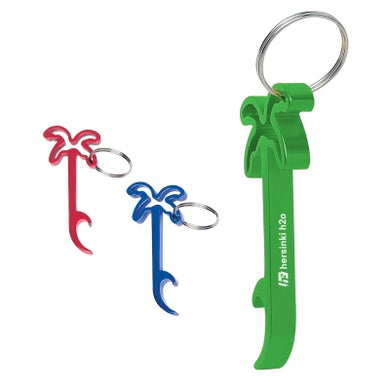 Promotional Custom Logo Plam Tree Bottle Opener Key Ring