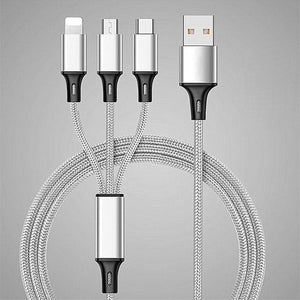 Custom Logo Three in One 4 Feet or 1.2 Meter Fast Charging Braided USB Phone Cable