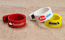 Load image into Gallery viewer, Custom Logo Silicone Wristband Slap Band Bracelet Pendrive USB Stick Flash Drives