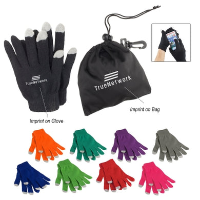Promotional Custom Logo Touch Screen Gloves In Pouch
